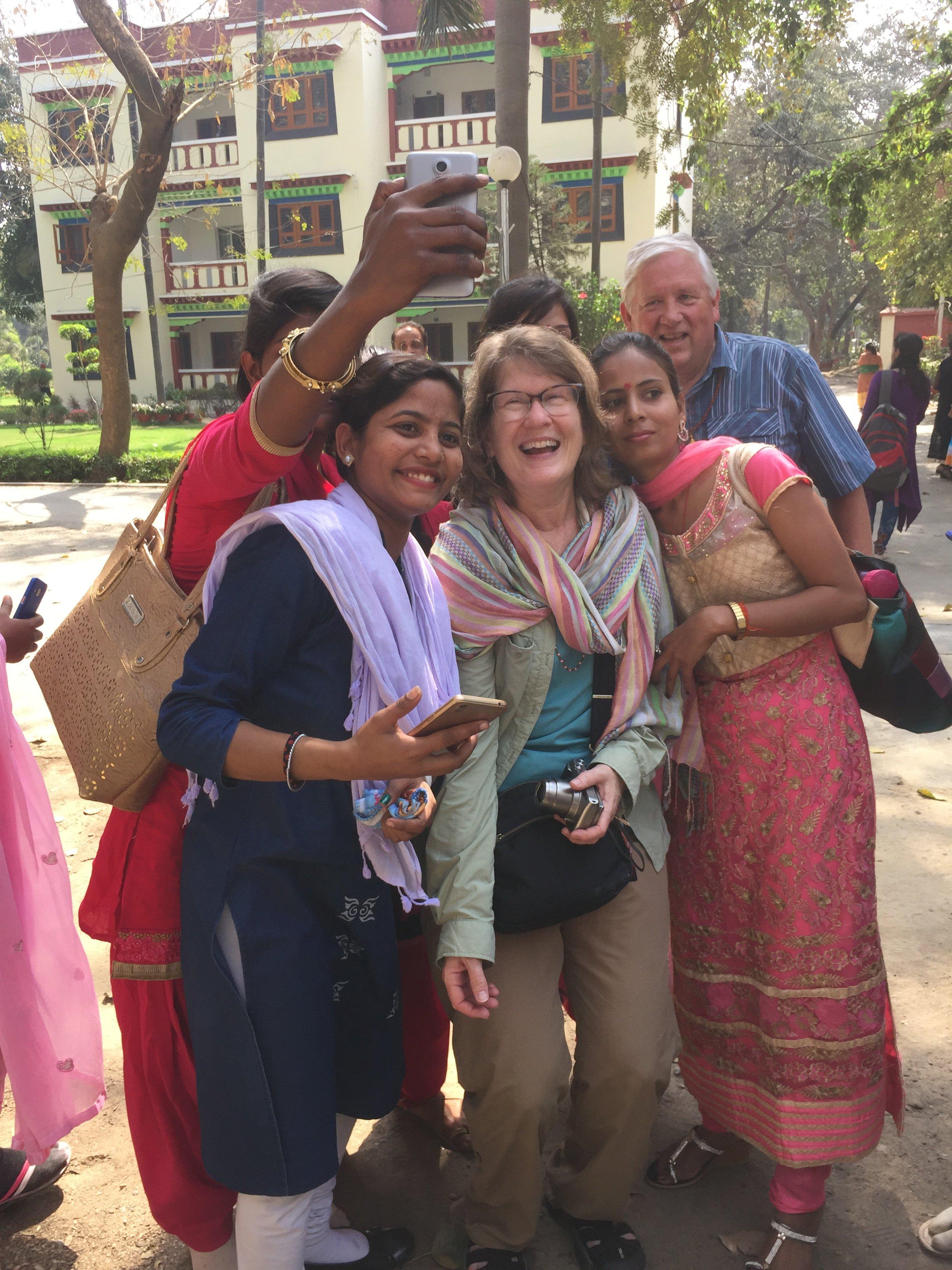 Sarnath - Mark and Melanie with Indian ladies